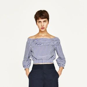 NWT Zara Off Shoulder Striped Crop Top